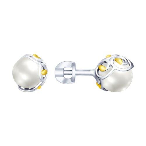 Серьги из серебра с жемчугом (94022734) - фото