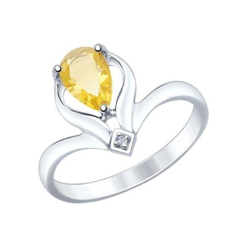 Кольцо из серебра с цитрином и фианитом