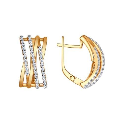Серьги из золочёного серебра с фианитами (93020683) - фото