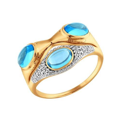 Золотое кольцо с топазами и россыпью фианитов SOKOLOV золотое кольцо ювелирное изделие 01k626002