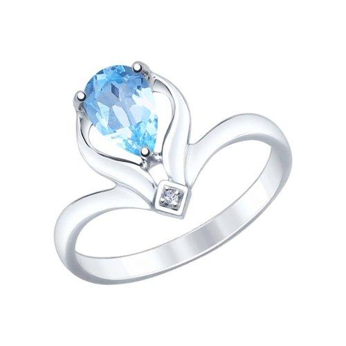 Кольцо из серебра с голубым топазом и фианитом