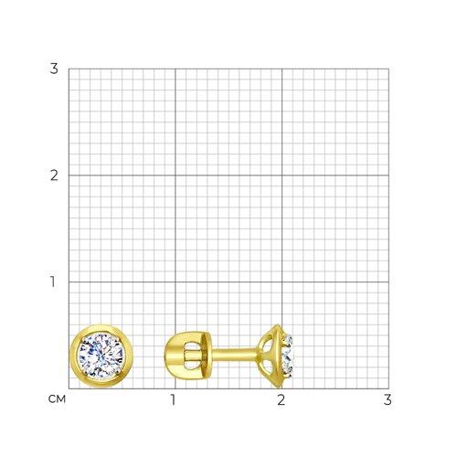 Серьги из желтого золота с фианитами (027470-2) - фото №2