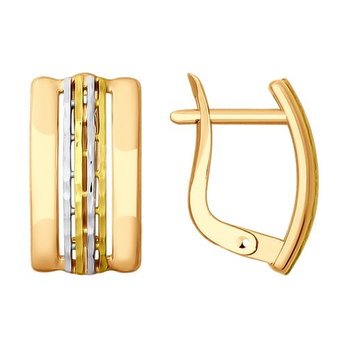 Серьги из золота с алмазной гранью (027861) - фото