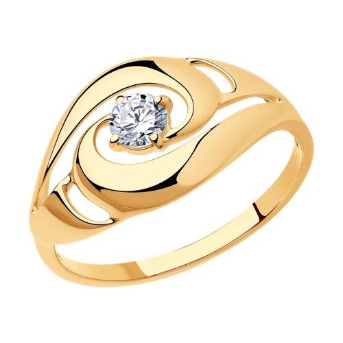 Кольцо из серебра с фианитом (93010598) - фото