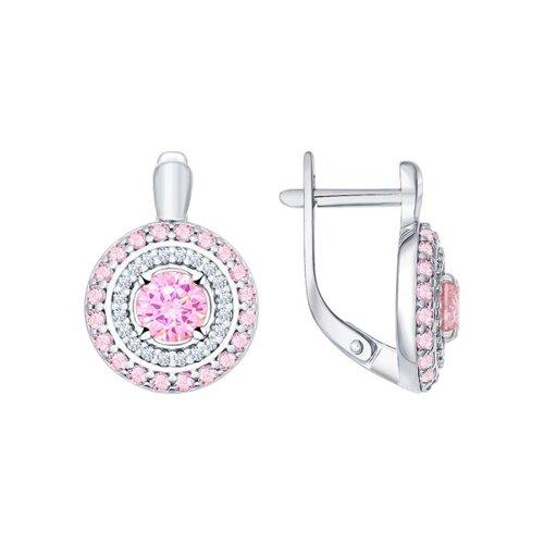 Серьги из серебра с розовыми фианитами (94021956) - фото