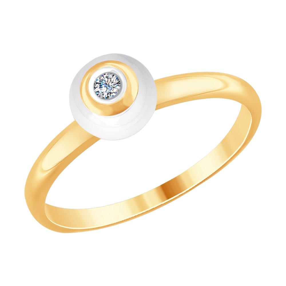 Золотое кольцо с бриллиантом и белой керамикой SOKOLOV золотое кольцо ювелирное изделие 01k624899