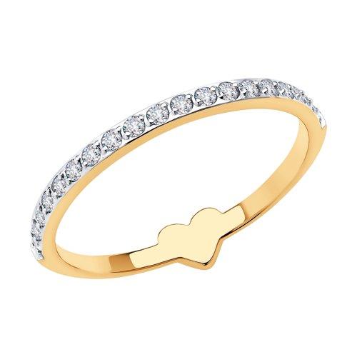 Кольцо из золота с фианитами 018545 sokolov фото