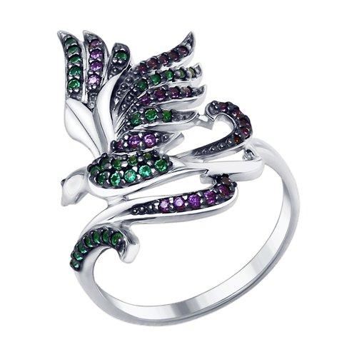 Кольцо из серебра с фианитами (94012891) - фото