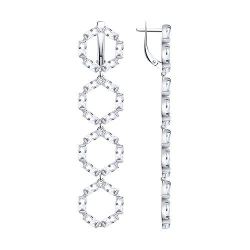 Серьги из серебра с фианитами (94023776) - фото