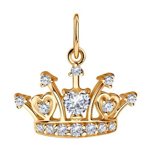 Подвеска «Корона» из золочёного серебра с фианитами