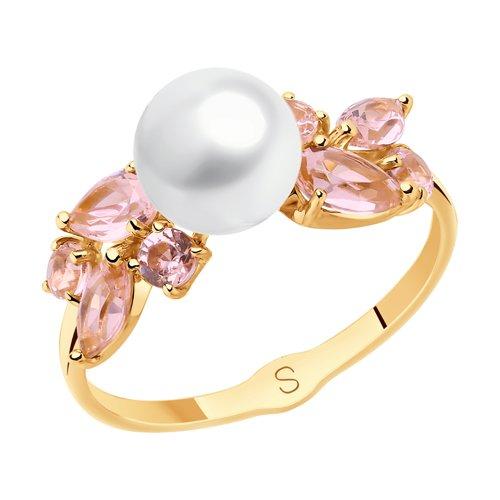 Кольцо из золота с жемчугом и розовыми ситаллами (791110) - фото