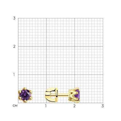 Пусеты из желтого золота с сиреневыми фианитами (027629-2) - фото №2