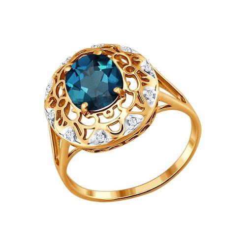 Золотое кольцо с глубоким синим топазом SOKOLOV золотое кольцо ювелирное изделие 01k663088