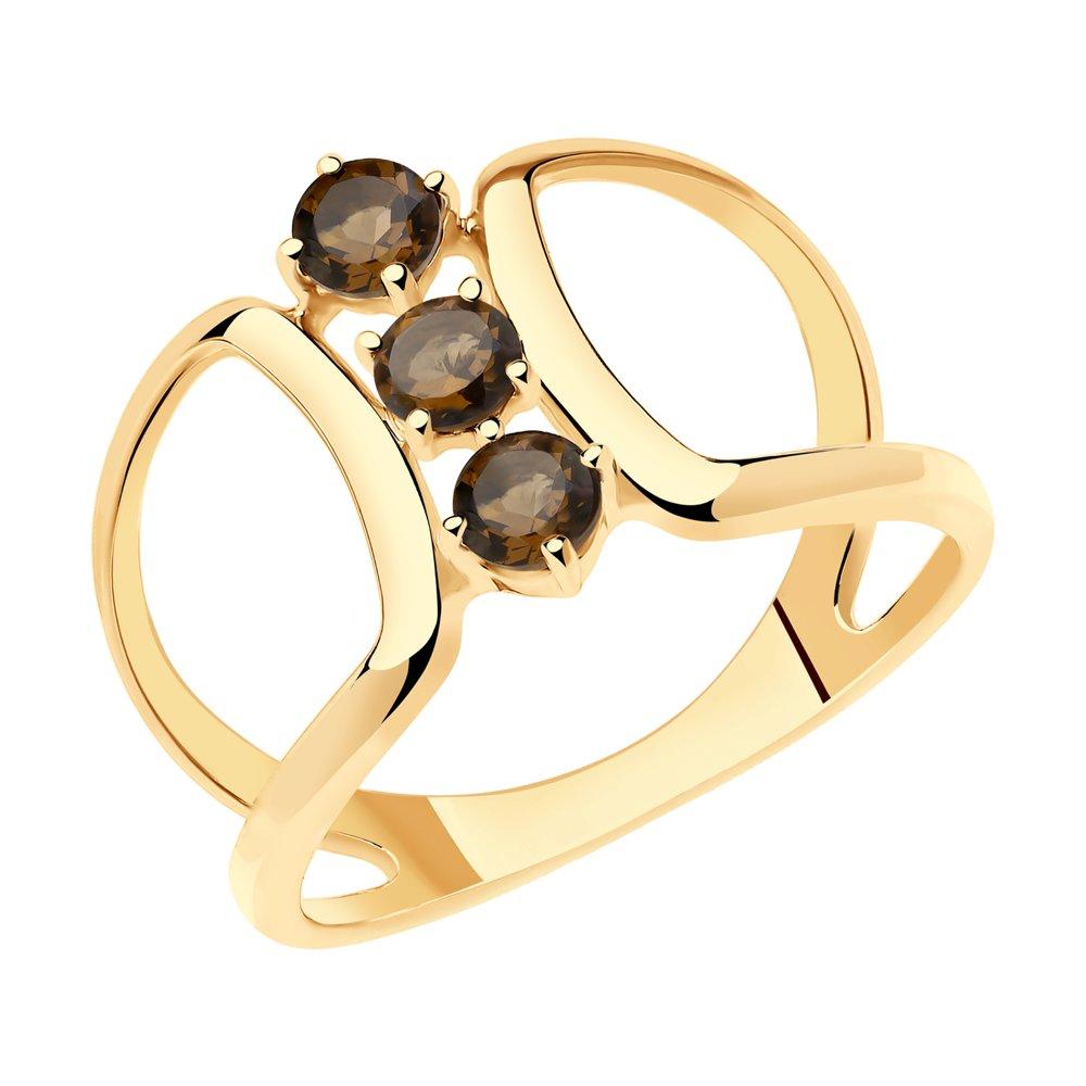 Кольцо SOKOLOV из золочёного серебра с раухтопазами кольцо из серебра с раухтопазами