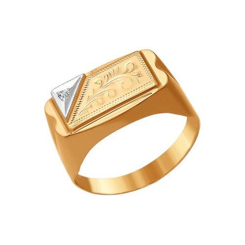 Печатка из комбинированного золота с гравировкой с фианитом