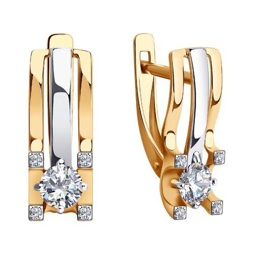 Серьги из золота с фианитами (028763) - фото №2