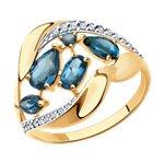 Кольцо из золота с синими топазами и фианитами