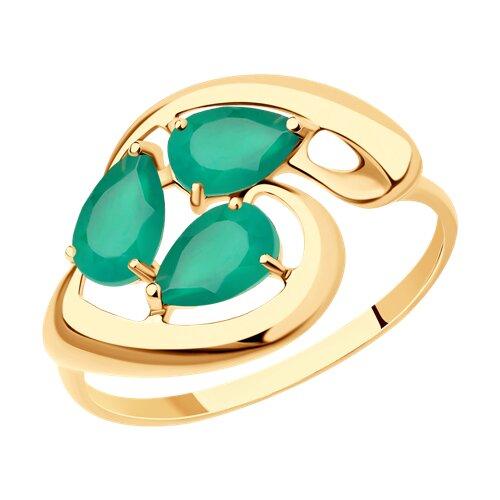 Кольцо из золота с агатами (714629) - фото
