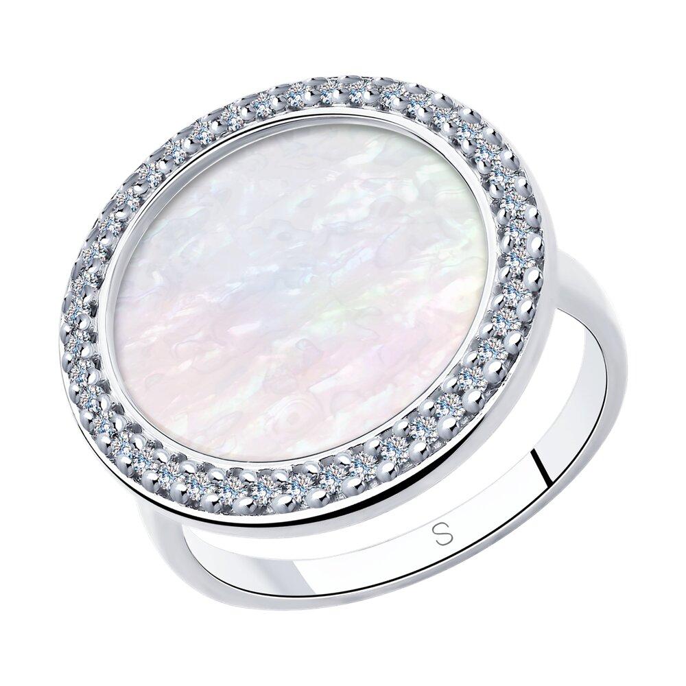 Кольцо SOKOLOV из серебра с перламутром и фианитами
