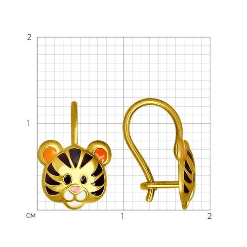 Серьги из желтого золота с эмалью (027354-2) - фото №2