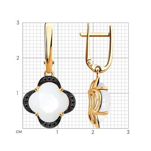 Серьги из золота с черными облагороженными бриллиантами и керамическими вставками 6025139 SOKOLOV фото 2