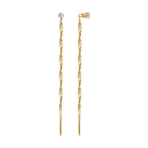 Золотые серьги-продёвки с фианитом