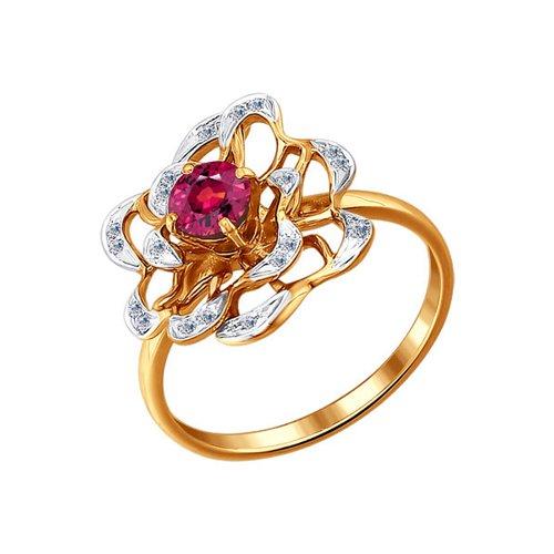 Золотое кольцо с роскошным цветком SOKOLOV золотое кольцо с жемчужиной sokolov