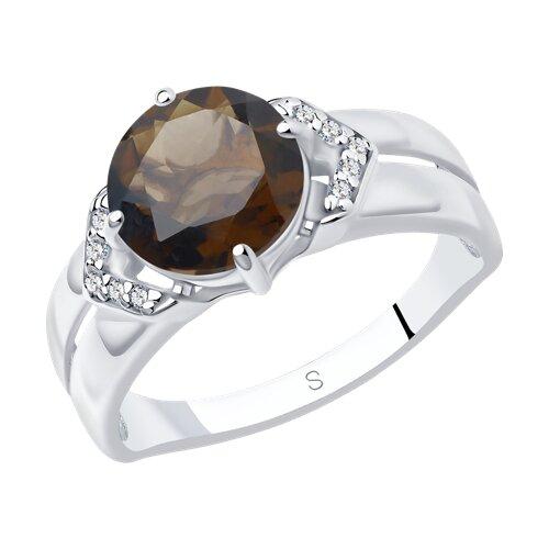 Кольцо из серебра с раухтопазом и фианитами (92011635) - фото