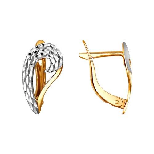 Золотые серьги с алмазной гранью SOKOLOV яркие золотые серьги с бабочкой sokolov