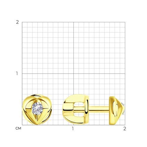 Серьги из желтого золота с бриллиантами 1021519-2 SOKOLOV фото 2