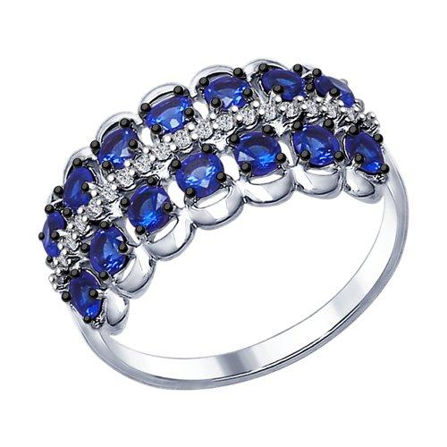 Кольцо из серебра с бесцветными и синими фианитами (94012311) - фото