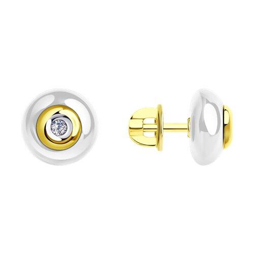 Серьги из желтого золота с бриллиантами и белой керамикой (6025060) - фото