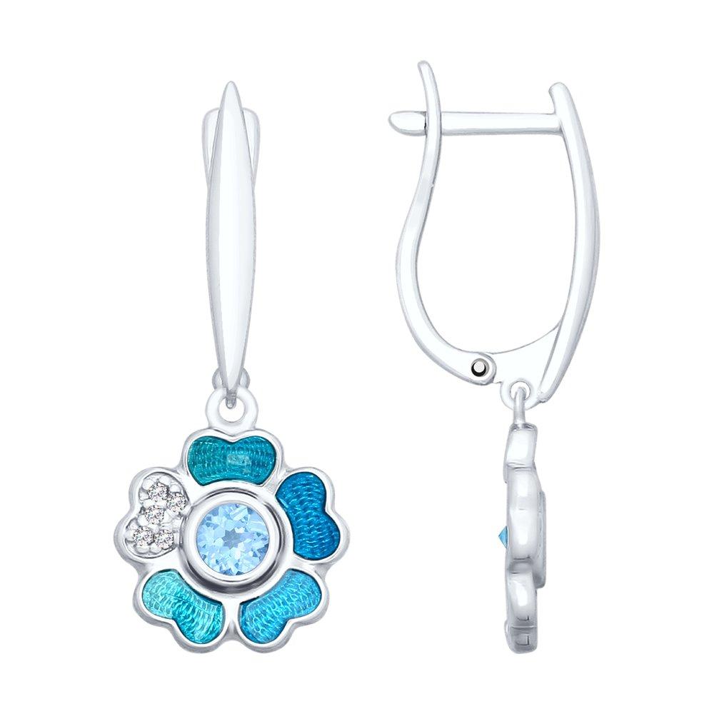 Серьги SOKOLOV из серебра «Цветок» с топазами и эмалью
