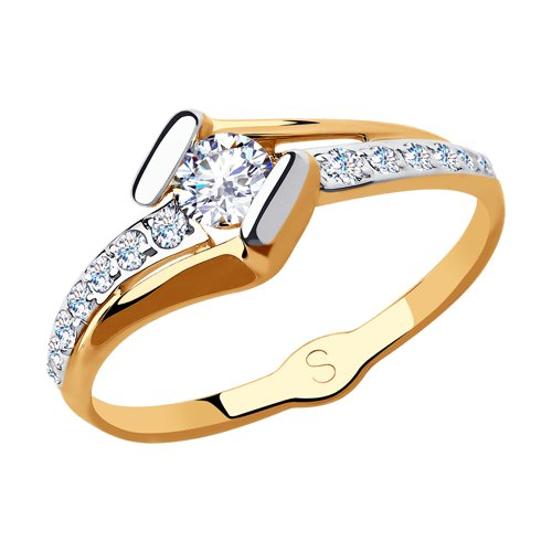 Кольцо из золота с фианитами (018227) - фото