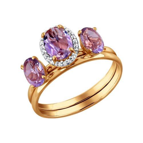 Золотое наборное кольцо с аметистами SOKOLOV золотое кольцо ювелирное изделие k 11013