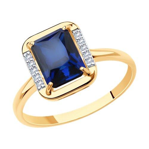 Кольцо из золота с корундом сапфировым (синт.) и фианитами