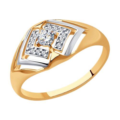 Кольцо из золочёного серебра с фианитами (93010798) - фото