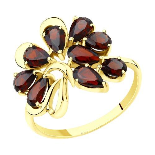 Кольцо из желтого золота с гранатами (715593-2) - фото