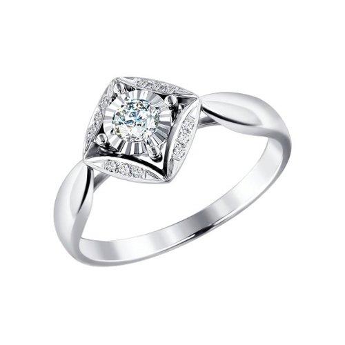 Кольцо из светлого золота c бриллиантами в квадрате