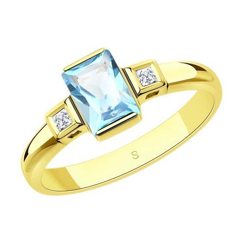 Кольцо из желтого золота с топазом и Сваровски