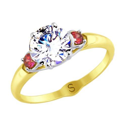 Кольцо из желтого золота с фианитами (017850-2) - фото