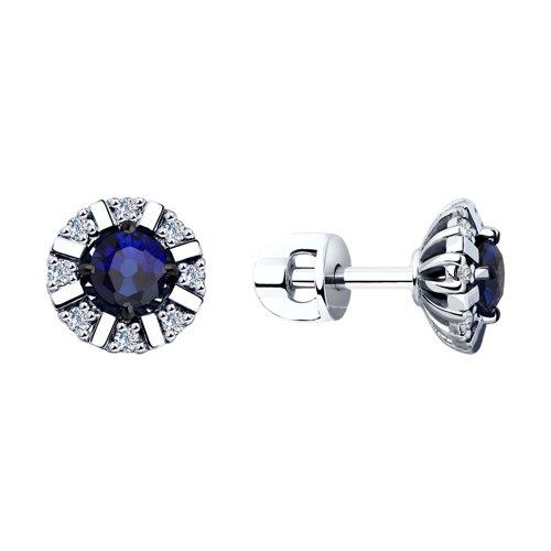 Серьги из белого золота с бриллиантами и синими корундами