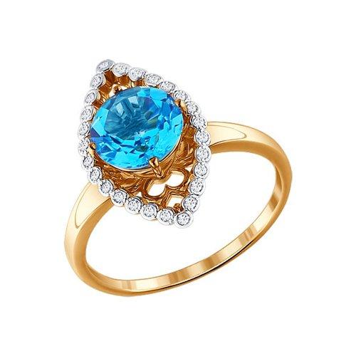 Коктейльное кольцо с круглым топазом и фианитами SOKOLOV
