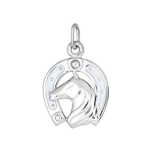 Подвеска подкова c силуэтом лошади SOKOLOV из серебра с эмалью недорого