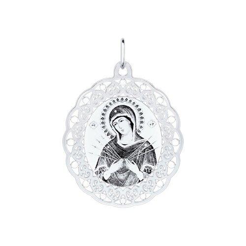 Серебряная иконка «Божья матерь Семистрельная» (94100142) - фото