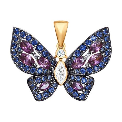 Золотая подвеска в виде бабочки с фианитами SOKOLOV цена и фото