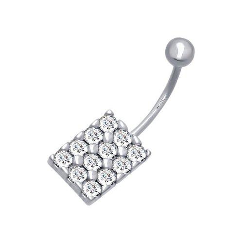 Пирсинг в пупок из серебра с фианитами классический пирсинг для носа с бриллиантом