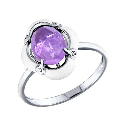 Кольцо из серебра с эмалью с аметистом и фианитами