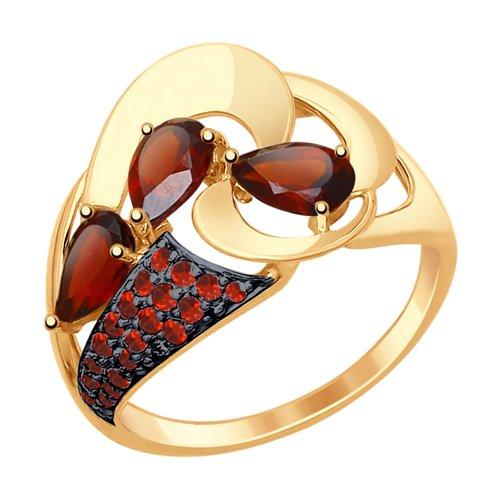Кольцо из золота с гранатами и красными фианитами (37714806) - фото