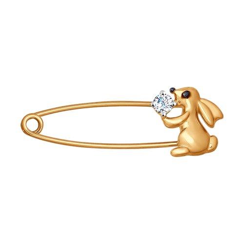 Золотая брошь-булавка «Кролик»